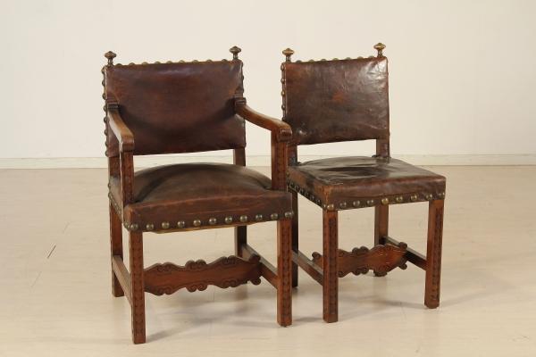 Gruppo 6 sedie e due poltrone neorinascimento bottega for Sedie e poltrone