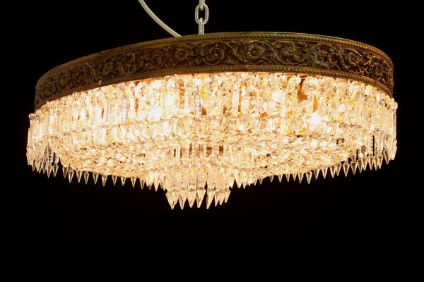 Plafoniera Ottone Vetro : Plafoniera ovale ottone vetri molati illuminazione bottega del