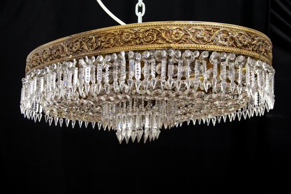 Plafoniere Ottone E Vetro : Plafoniera ovale ottone vetri molati illuminazione bottega del