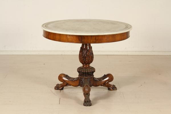 Tavolo Tondo Antiquariato.Tavolo Tondo Con Marmo Tavolini Antiquariato