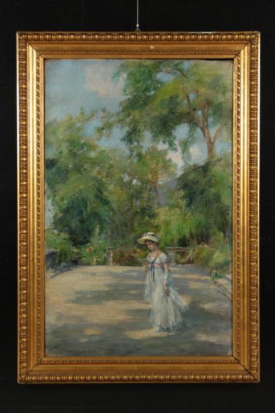 Fanciulla che passeggia in giardino novecento arte - Arte e giardino ...