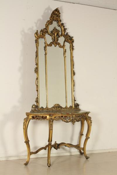 Consolle con specchio - Chippendale - Bottega del 900 - dimanoinmano.it