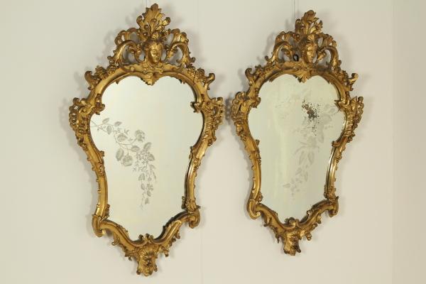 Coppia di specchiere specchi e cornici antiquariato - Specchi antichi prezzi ...