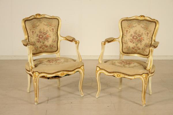 Par de sillas de estilo barroco tardo Barocchetto Bottega del