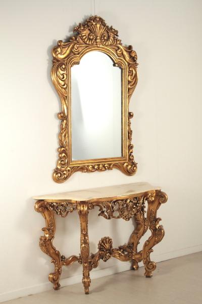 Consolle con specchio in stile mobili in stile bottega for Specchio antico rovinato