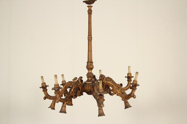 Lampadario legno dorato - Illuminazione - Bottega del 900 ...