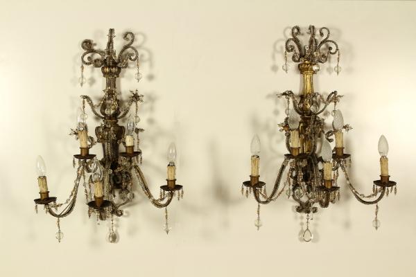 Coppia applique a gocce lampadari e lumi antiquariato