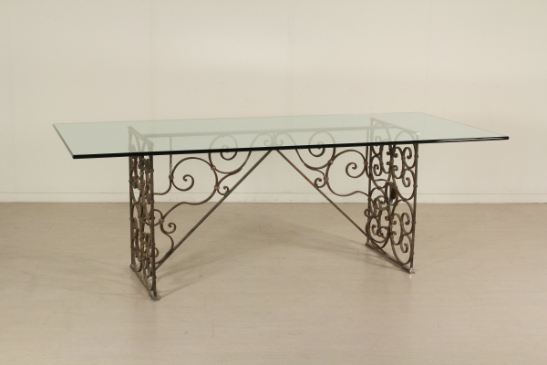 Tavolo ferro battuto e cristallo mobili in stile bottega del 900 - Tavolo ferro battuto ...