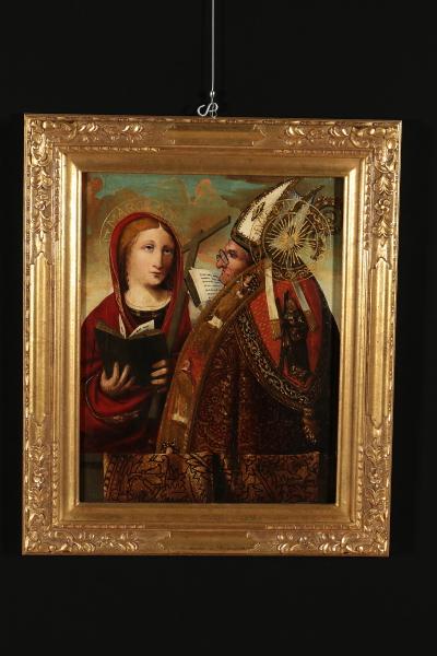saint margaret and saint eusebius antique painting art