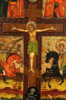 Detalle del icono ruso cuatripartito con el Cristo crucificado