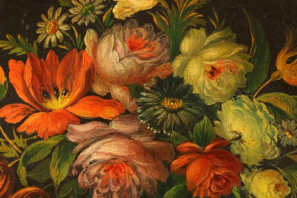Natura morta con frutta e fiori pittura antica arte - Pittura particolare ...