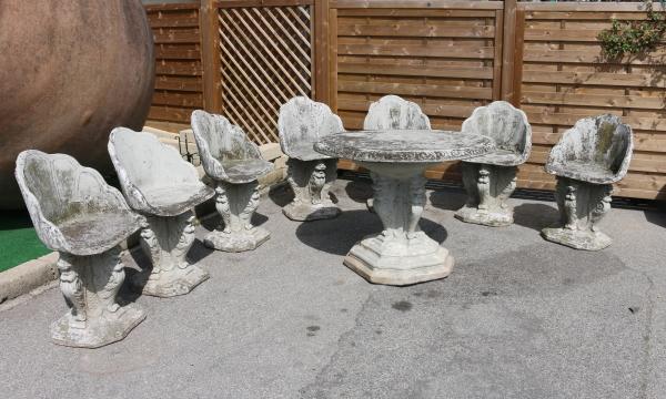 Tavoli Da Giardino In Cemento.Salotto Da Giardino In Cemento Liberty Bottega Del 900
