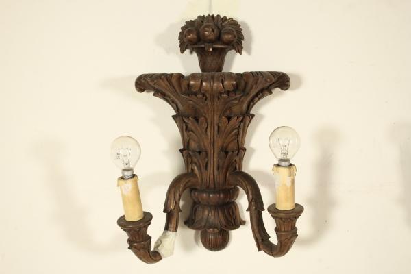 Gruppo applique in legno illuminazione bottega del