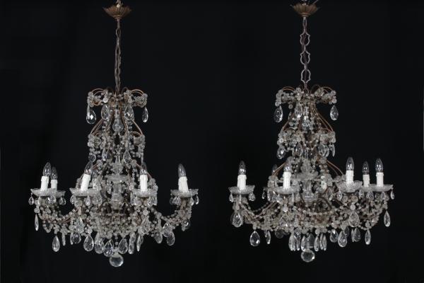 Lampadario Antico A Gocce : Coppia di lampadari a goccia lampadari e lumi antiquariato