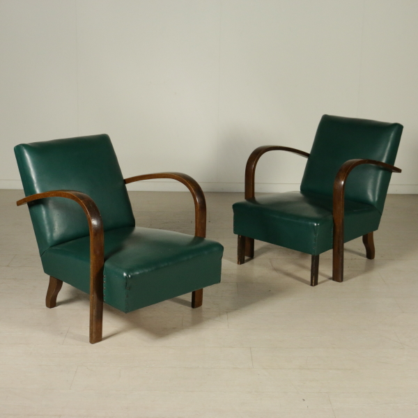 Two Armchairs Springs Leatherette Stained Bentwood Vintage Italy