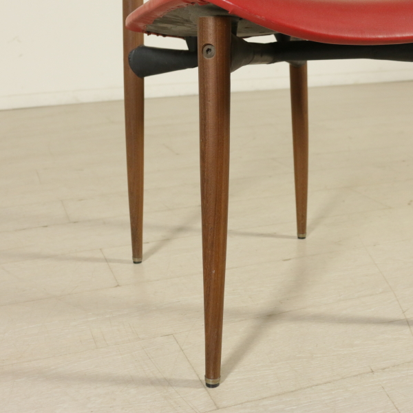 Group 6 Chairs Teak Metal Foam Leatherette Vintage Manufactured in Italy 1950s - Chairs - Modern ...