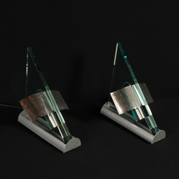 Pair of Artemide Wall Lamps by Carlo Forcolini Metal Aluminium Glass Vintage 80s - Lighting ...