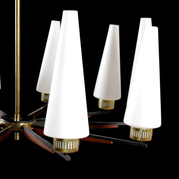 Hanging Lamp Brass Metal Teak Opaline Glass Vintage Italy ...