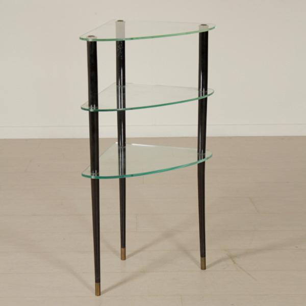 corner etagere ebony stained wood brass glass vintage. Black Bedroom Furniture Sets. Home Design Ideas