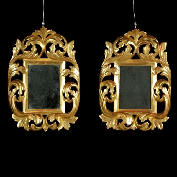 Coppia di cornici dorate con specchio specchi e cornici - Cornici per specchi ...