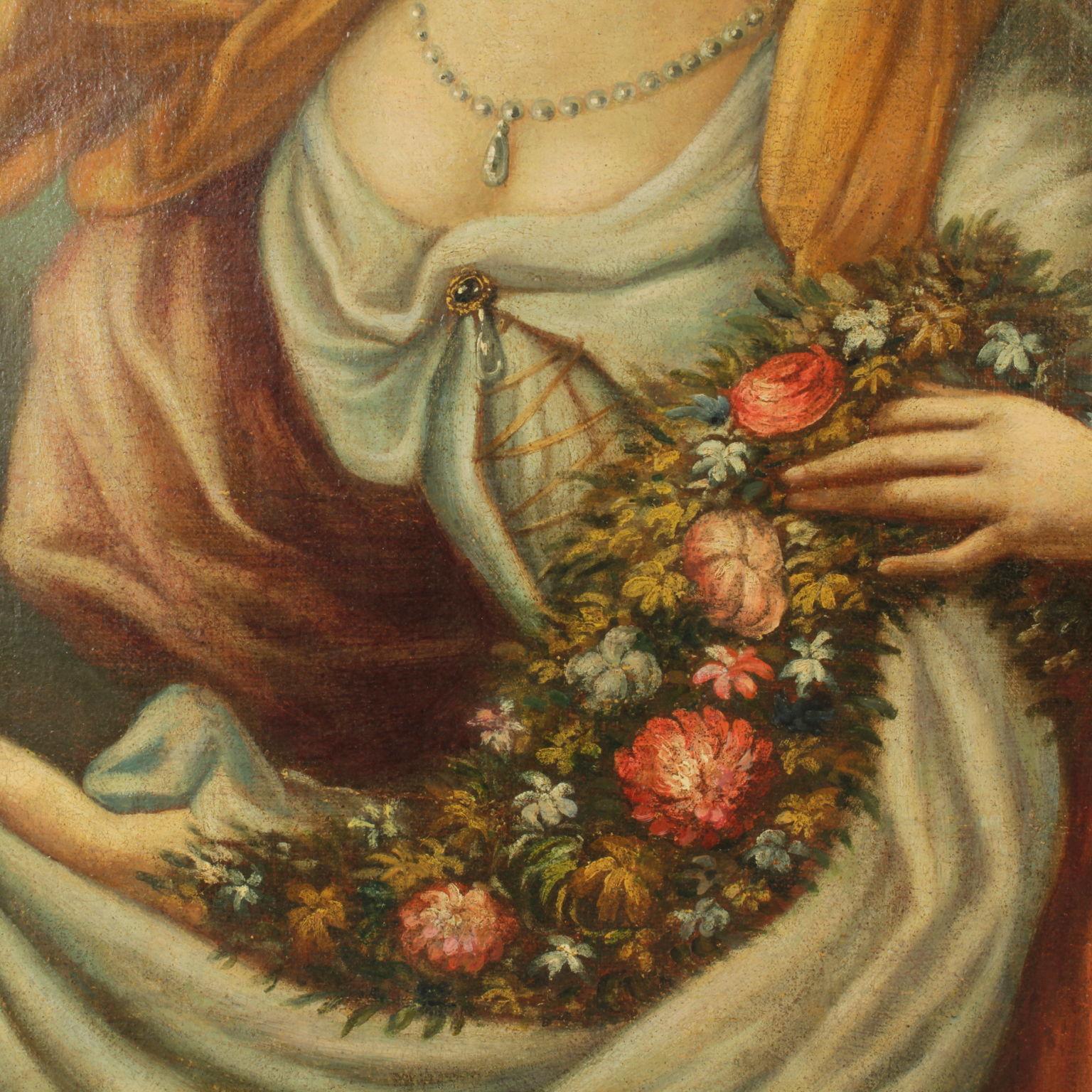 Très Ritratto di giovane gentildonna con fiori - Pittura antica - Arte  TB66