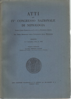 Proceedings of the IVº Congress of the National Nipiologia