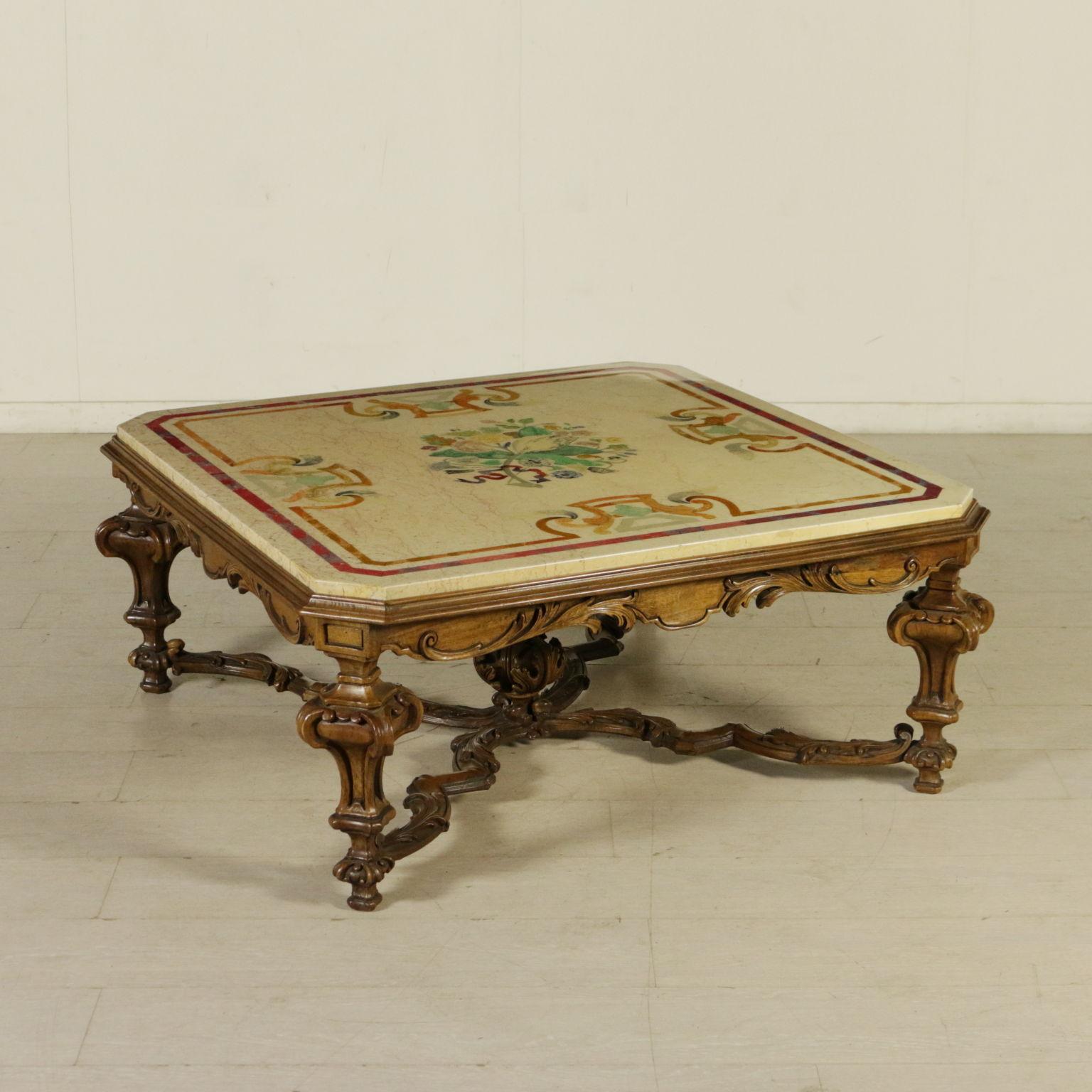 Tavolo da salotto con marmo mobili in stile bottega - Tavolo da salotto ...