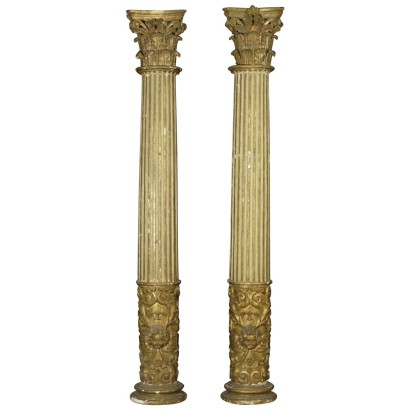 Pair of Gilded Fluted Columns Italy Late 17th Century