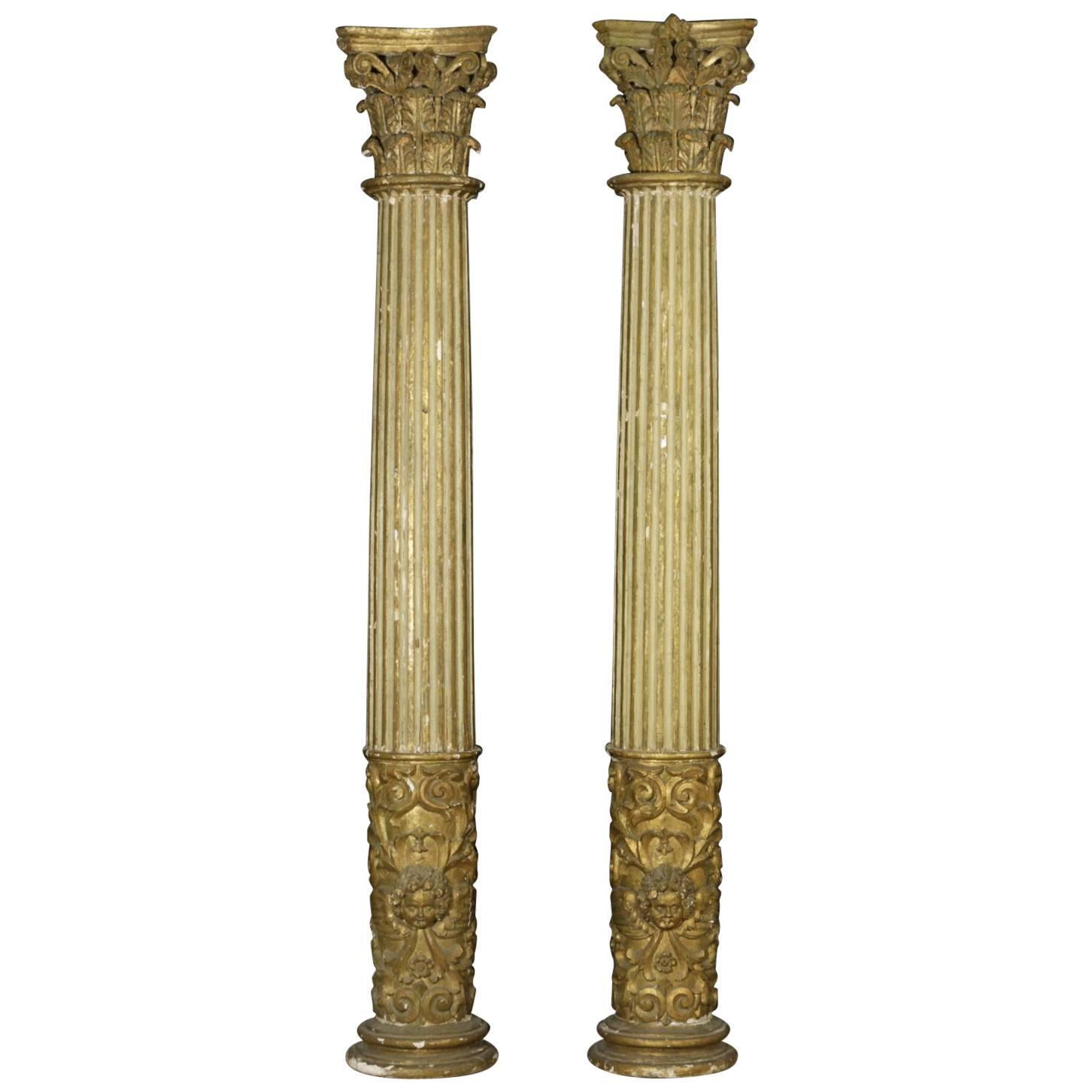 Coppia di colonne intagliate altri mobili antiquariato for Mobili antiquariato