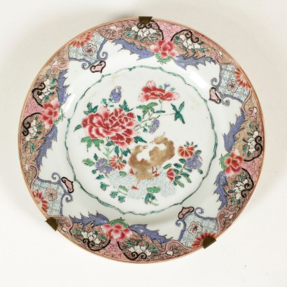 "Group of six plates ""Famille Rose"""