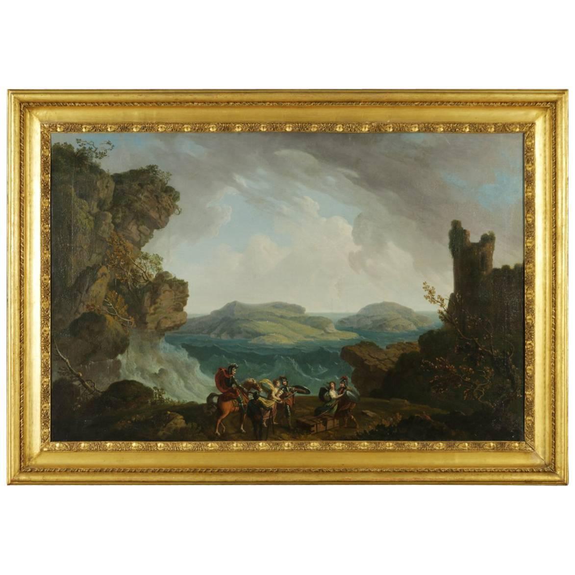 Adrien Manglard Landschaft Mit Szene Bestimmt Antike Gemälde