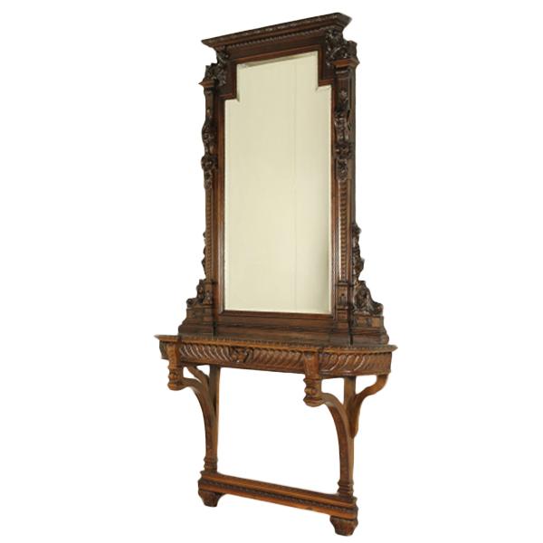 Consolle intagliata con specchio - Neorinascimento - Bottega del 900 ...