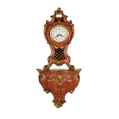 Clock with wooden shelf