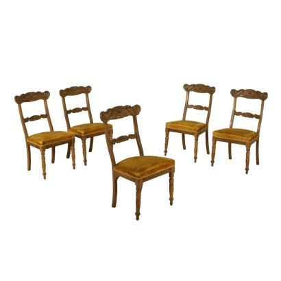 Group of five Restoration chairs