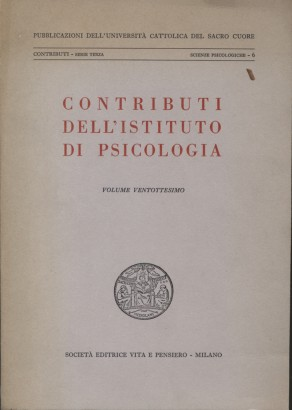 Contributions of the Institute of psychology (Volume Twenty)