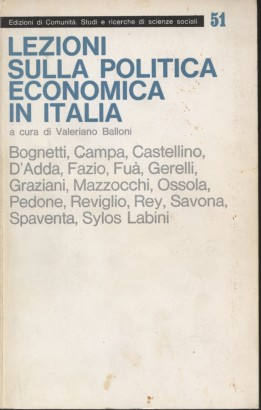 Lectures on economic policy in Italy