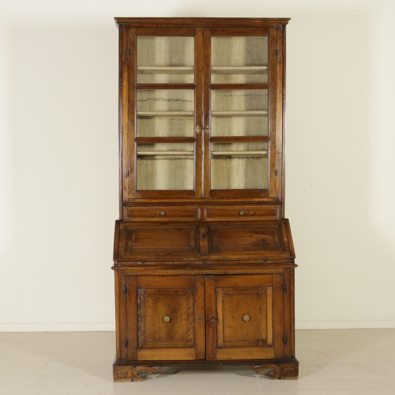 Trumeau Walnut Bookcase The Flaps And Secretaire Antique