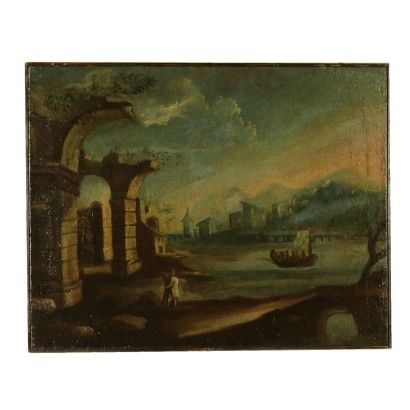 Landscape with ruins and boat on the lake and figures
