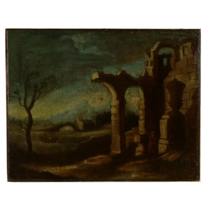 Landscape with ruins and bare tree