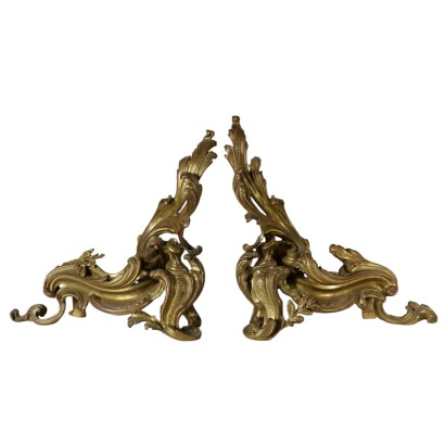 Pair of andirons of the 19th century