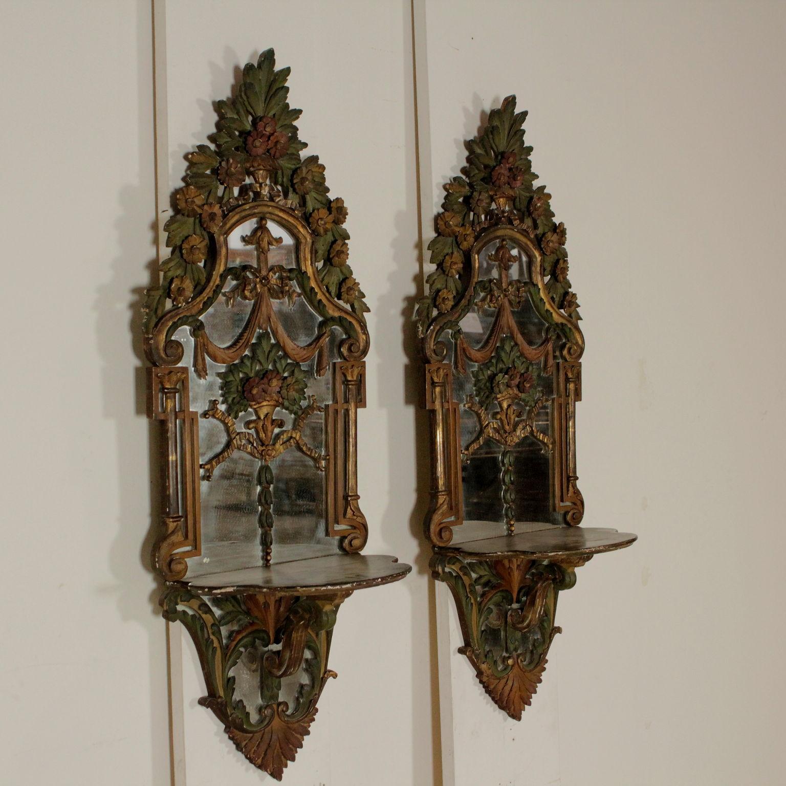 Coppia di specchi con consolle mobili in stile bottega del 900 - Specchi in stile ...