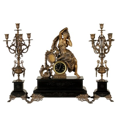 Mantel Clock with Candlesticks