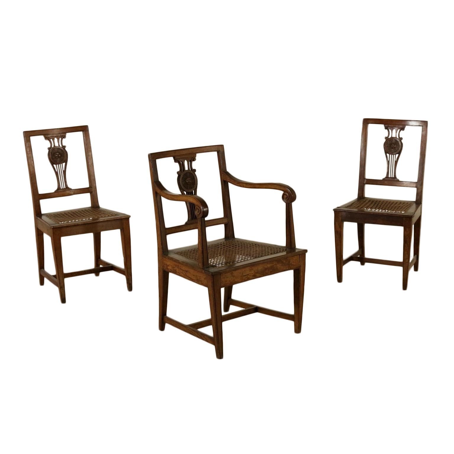 Coppia di sedie e poltrona neoclassica sedie poltrone for Sedie a poltrona