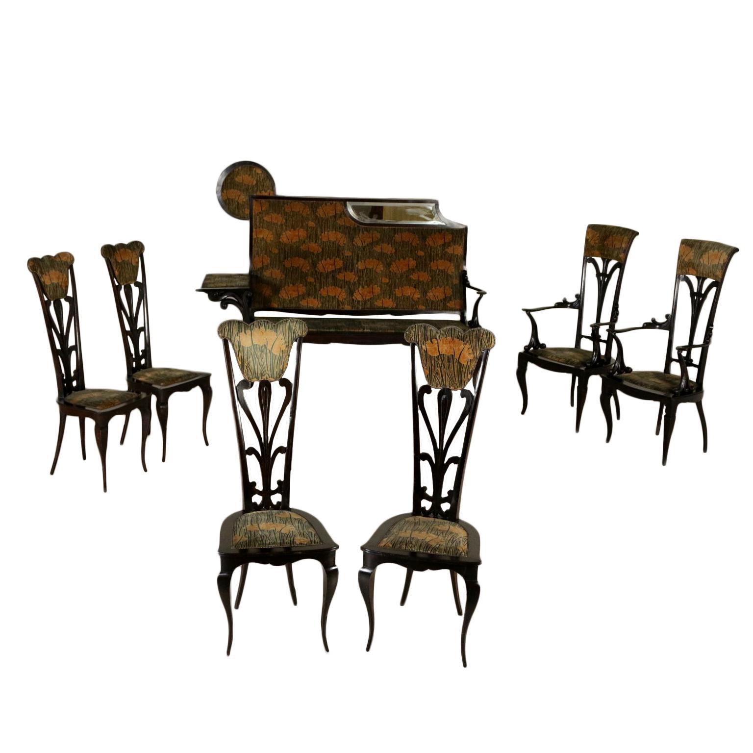Salotto Art Nouveau.Living Room Art Nouveau Carlo Zen Liberty Bottega Del