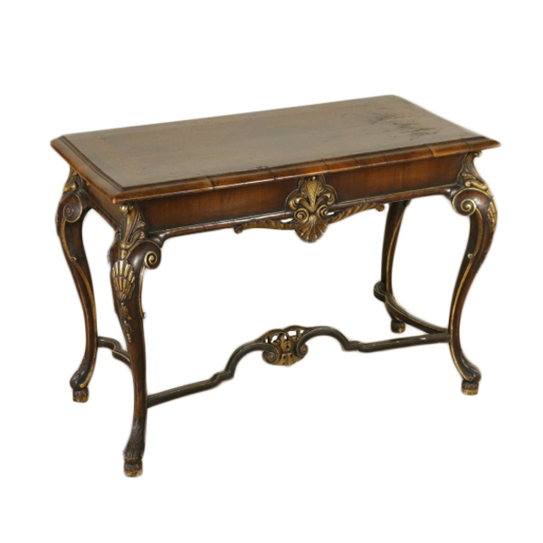 Post-1950 Carved Walnut Demilune Entry Table End Table Carved Back Splat Tables