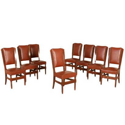 Set of Eight Chairs Stained Beech Leatherette Vintage Italy 1950s