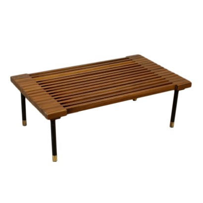 Coffee Table Stained Beech Metal Legs Vintage Italy 1960s