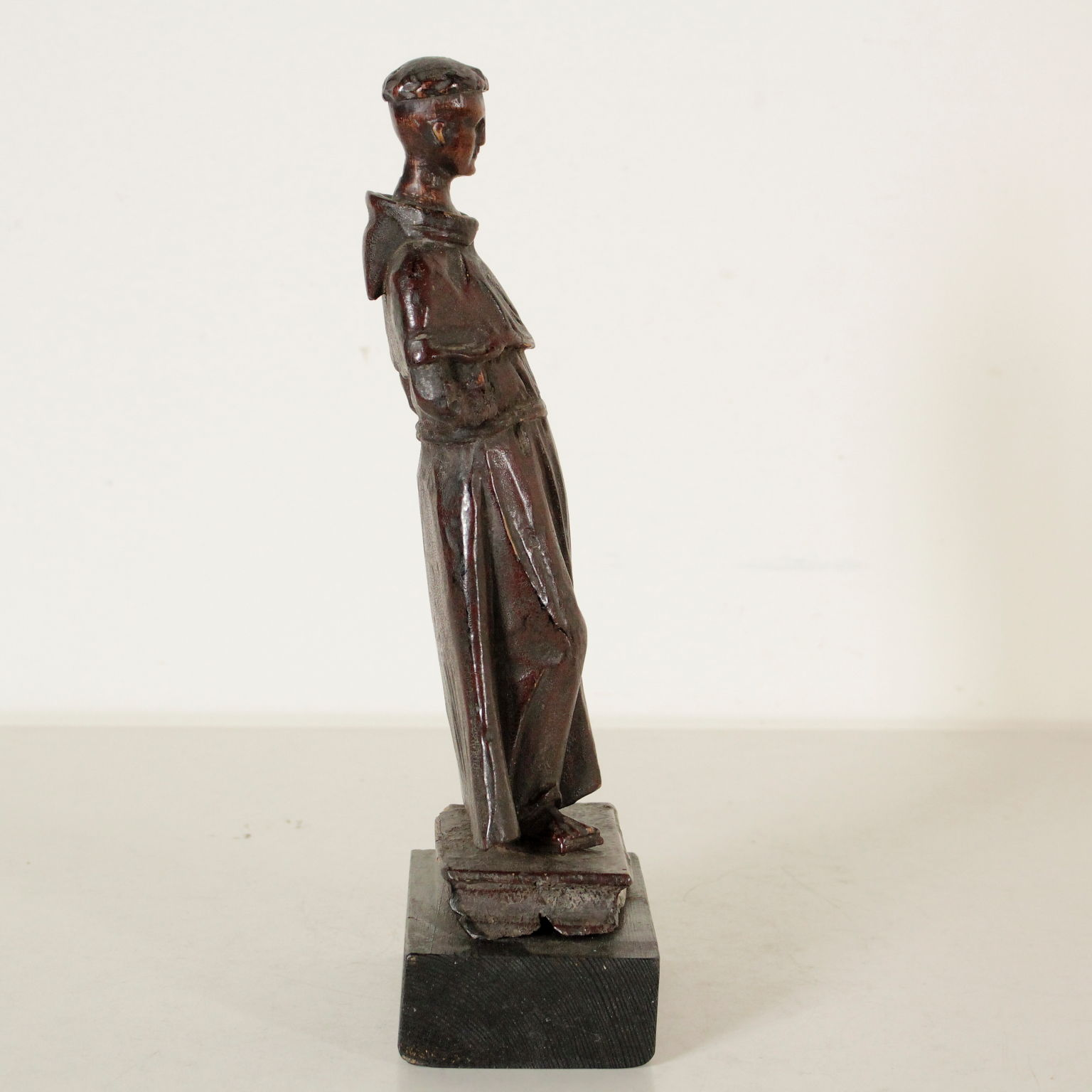 Sculpture Wood St Francis Manufactured In Italy 17th Century