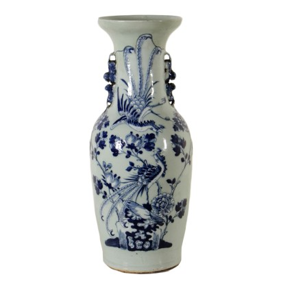 Porcelain Vase Made in China Blue White Paintings Early 1900