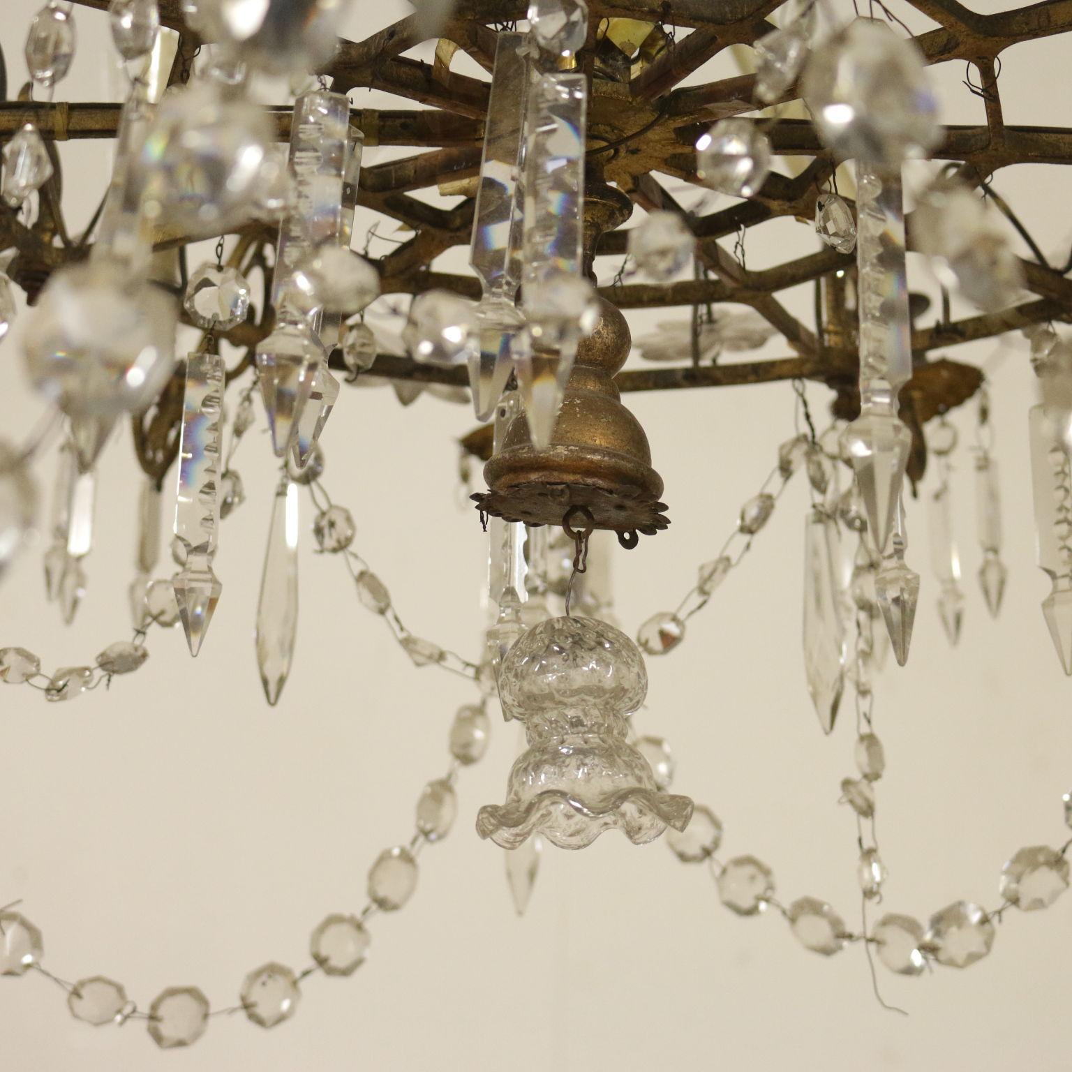 Lampadari A Gocce In Cristallo.Lampadario A Due Ordini Con Gocce In Vetro Lampadari E Lumi